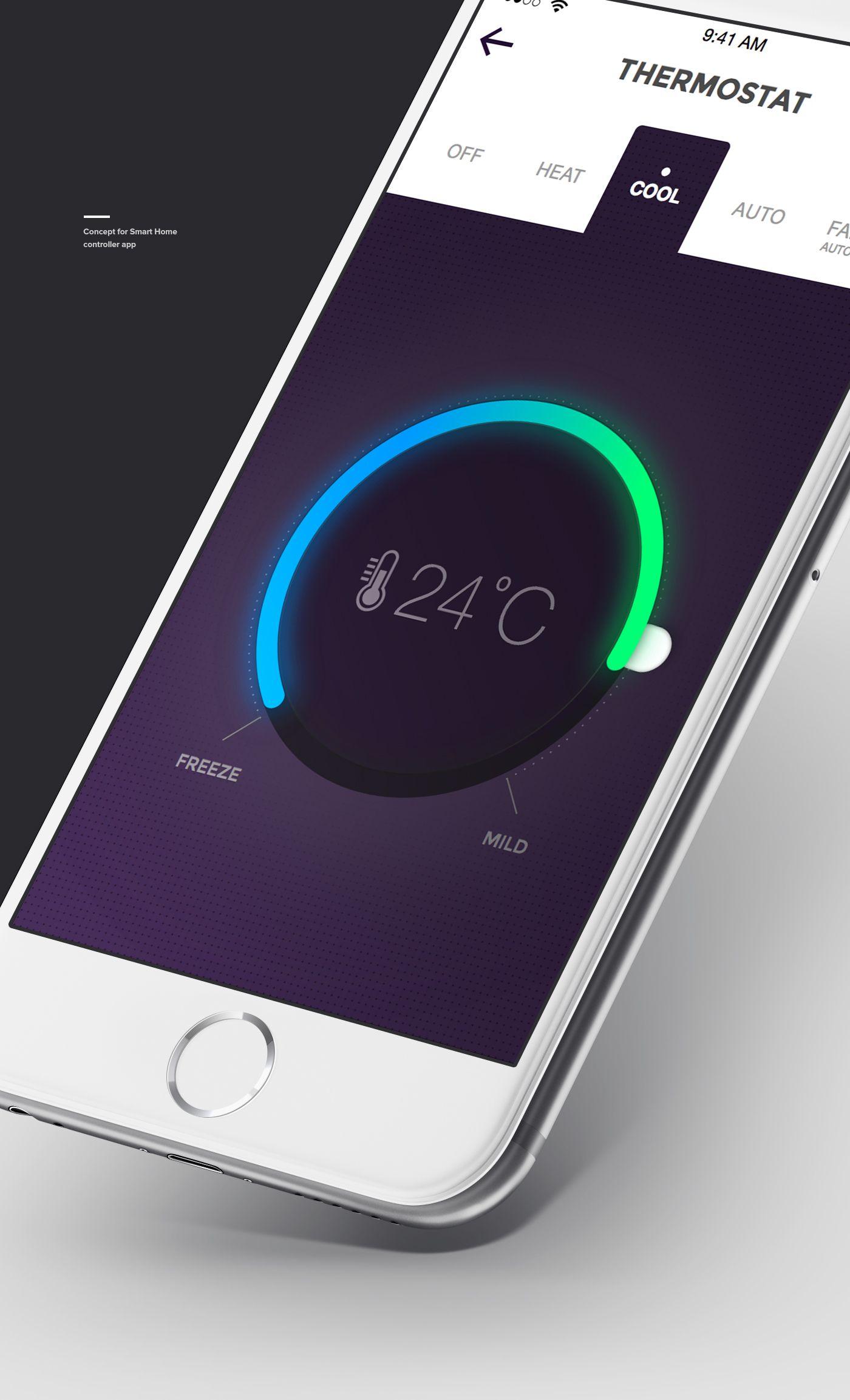Smart Home Controller App Concept On Behance Smart Home Mobile App Design Security Gadgets