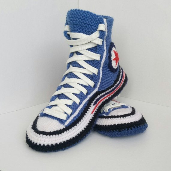 99eb3f3f93fd Knitted converse boots House slippers women Knit converse sneakers Converse  socks Adult crochet conv