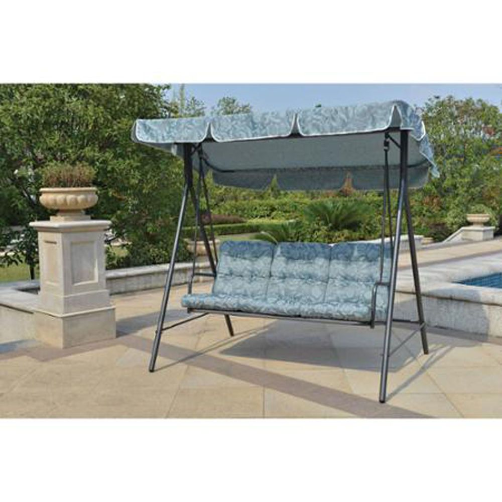 Porch Swing With Canopy Cover Blue Cushion Patio Outdoor Seat 3