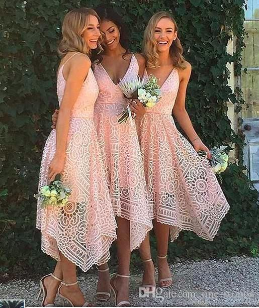 2017 New Style Elegant Tea Length Blush Pink Lace Bridesmaid Dress  Irregular Hem V Neck Maid Of Honor Country Wedding Guest Gowns Formal Dress  Dresses For ... f206da2924ad