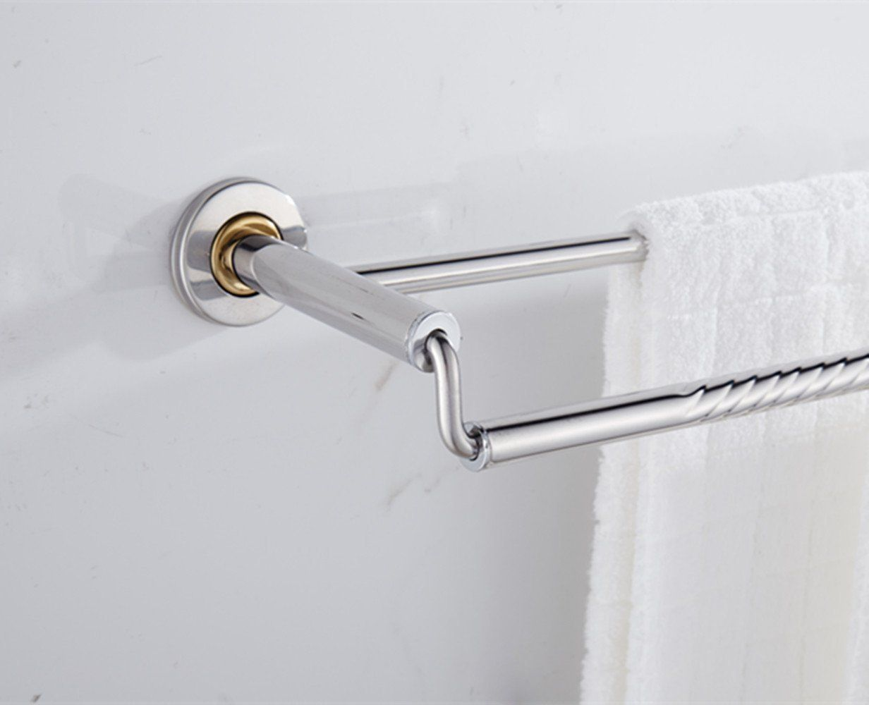 Thickening Double Towel Bar Holder Wall Mounted Bathroom Towel