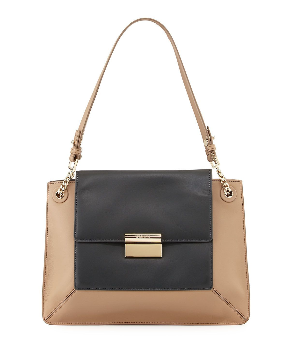 Jason Wu Christy Two Tone Leather Shoulder Bag Charcoal