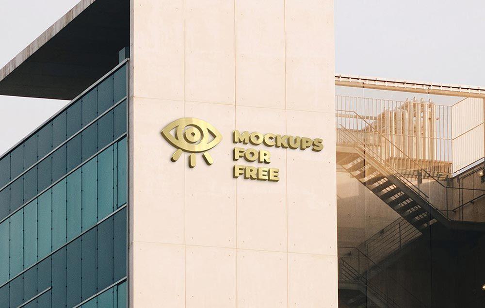 Free Building Logo Mockup Mockuptree Free Logo Mockup Building Logo Logo Mockups Psd