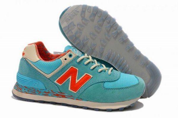 Joes New Balance 574 WL574CBO Aqua Blue Crimson Womens Shoes
