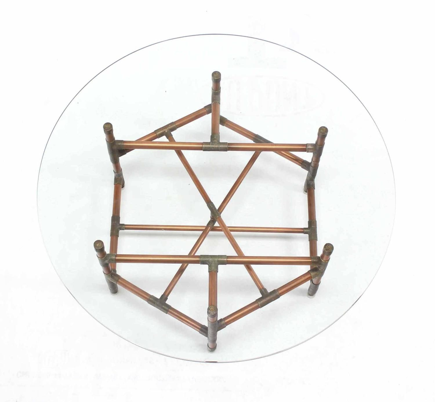 Round glass table top view copper pipe and fitting base round glass top coffee table