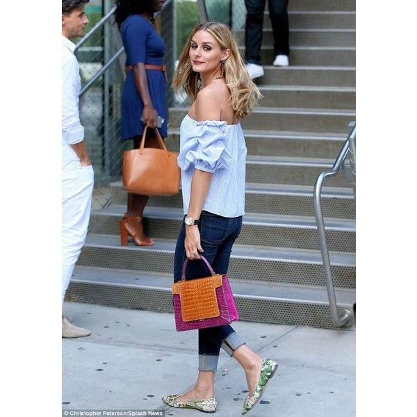 Olivia Palermo keeps cool in off-the-shoulder top and skintight jeans ❤ liked on Polyvore