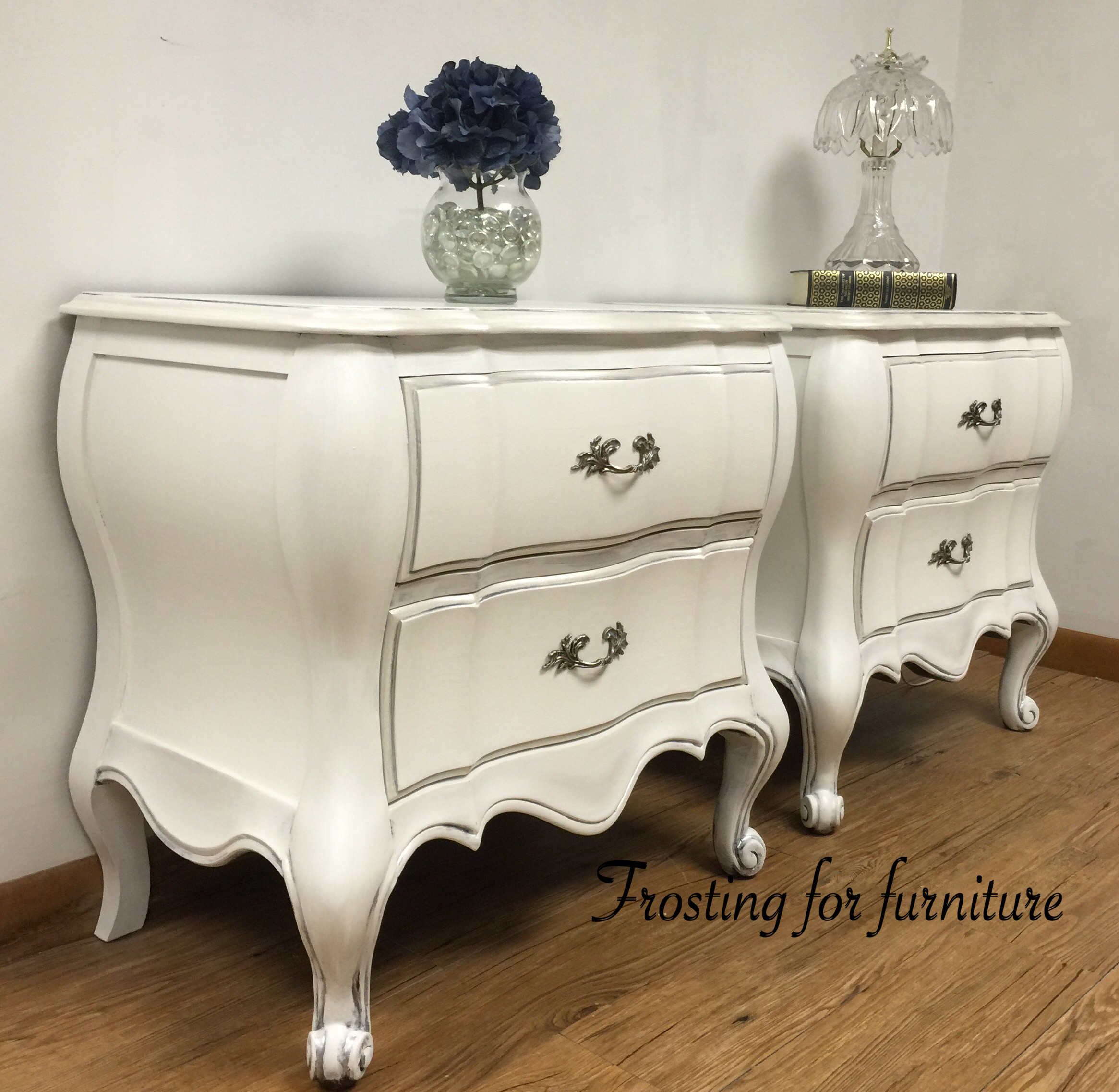 french provincial nightstands painted in pure white and metallic rh pinterest com