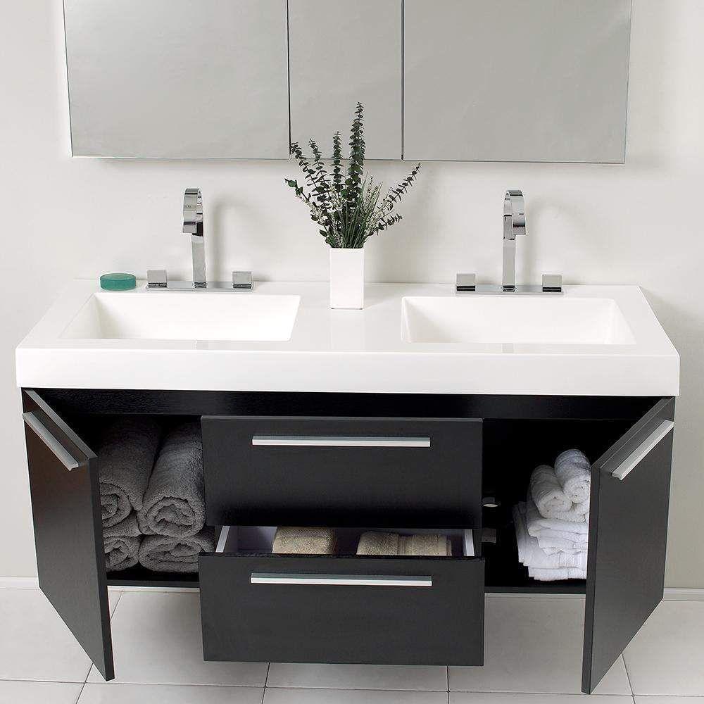 Fresca Opulento Inch Double Vanity With Medicine Cabinet Double - 54 inch bathroom vanity double sink