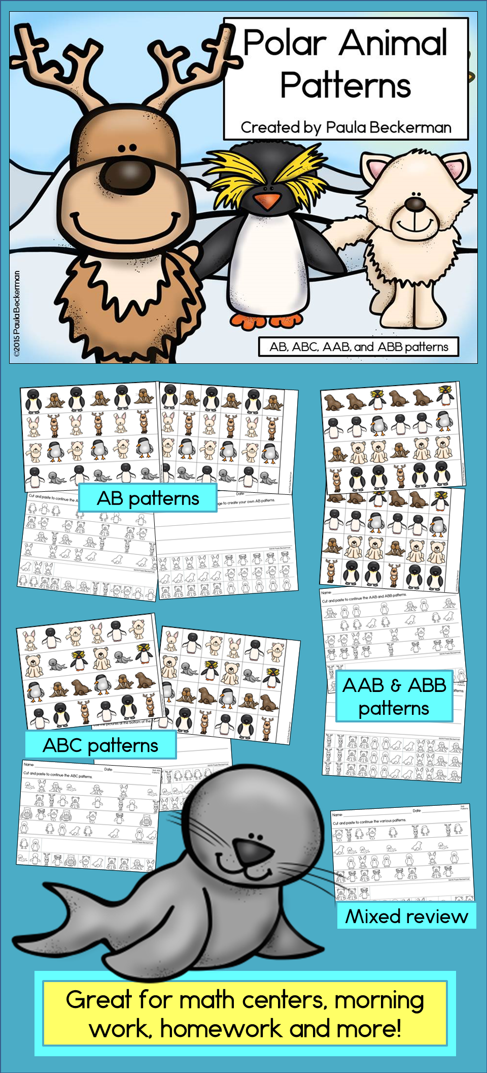 Polar Animal Patterns Math Center with AB, ABC, AAB & ABB patterns ...