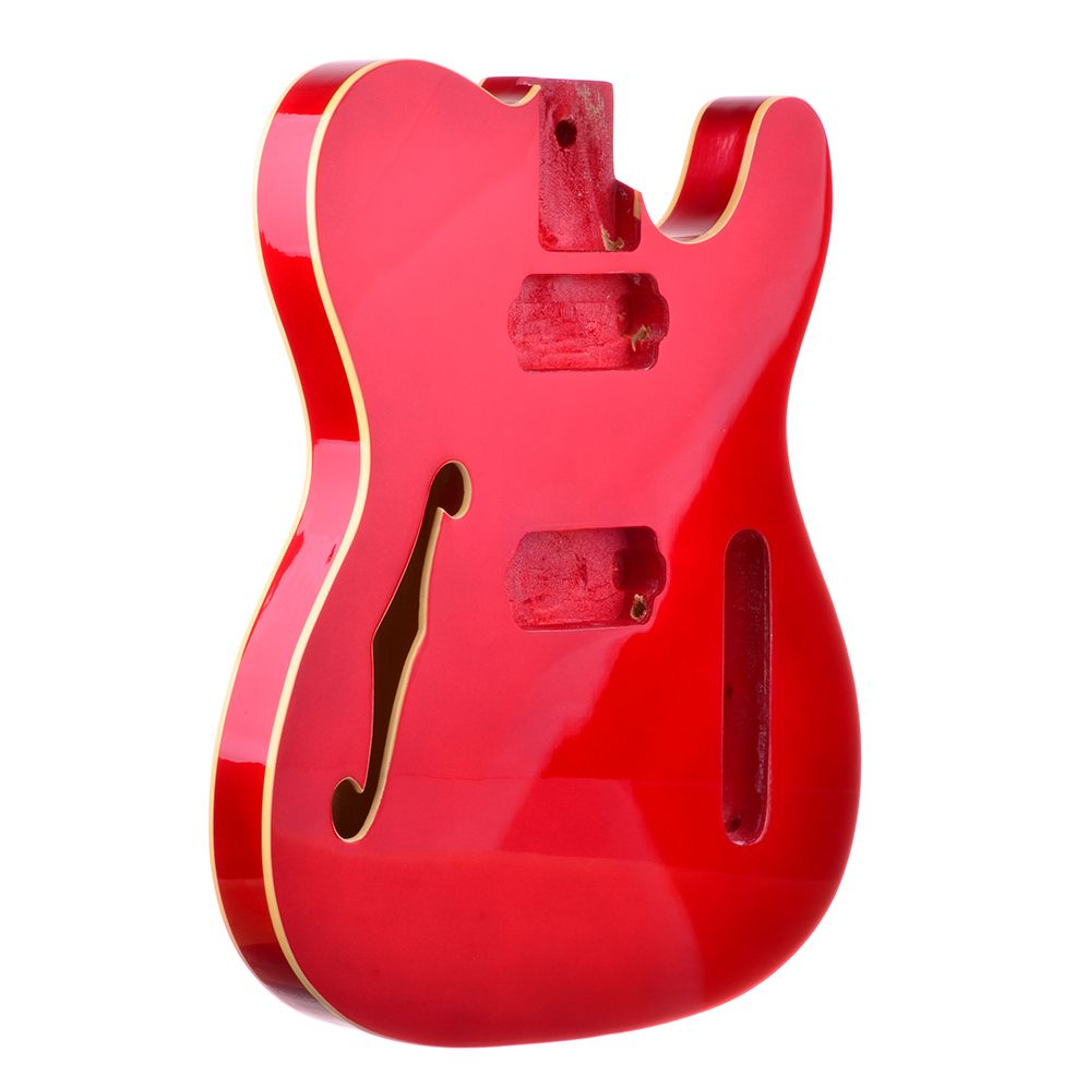 Rockaudio  Candy Apple Red Double Cream Bound Telecaster Style Body With Bound F-hole