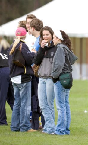 Yes, Kate Middleton fell prey to the Freshman Fifteen. Kate watching polo during the St.Andrews years