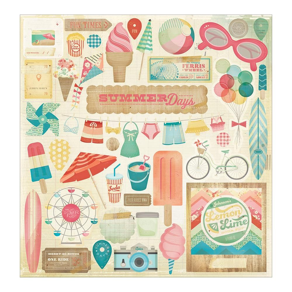 Scrapbook paper and stickers - Summer stickers