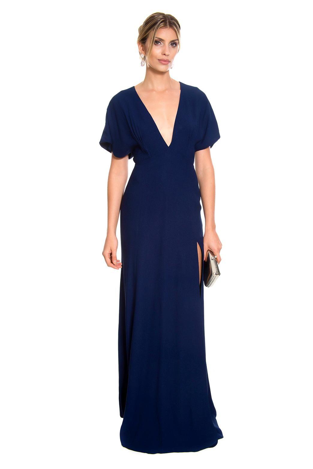 7f6517170 Vestido longo de crepe azul marinho com decote em