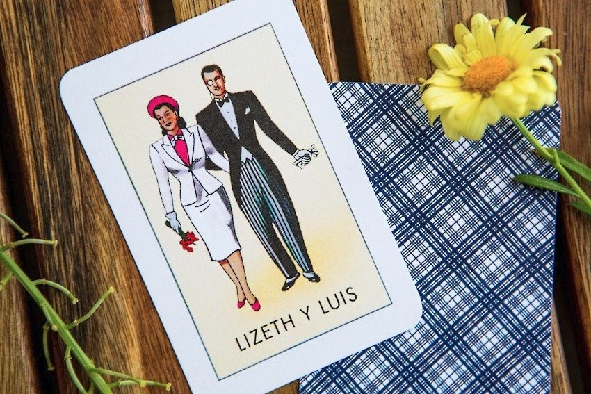 cinco de mayo mexican fiesta wedding loteria save the date designed