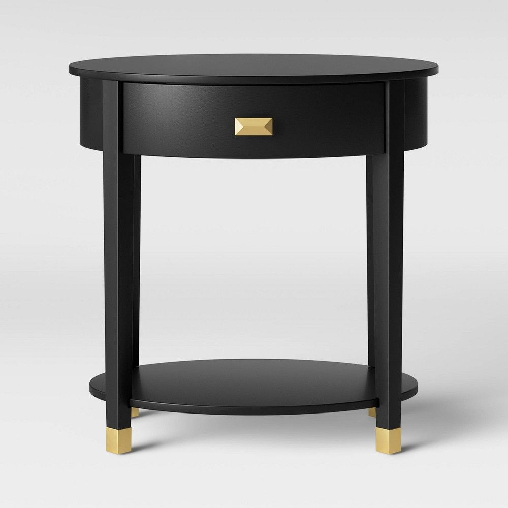 Duxbury Oval Nightstand With Drawer Black Threshold In 2020