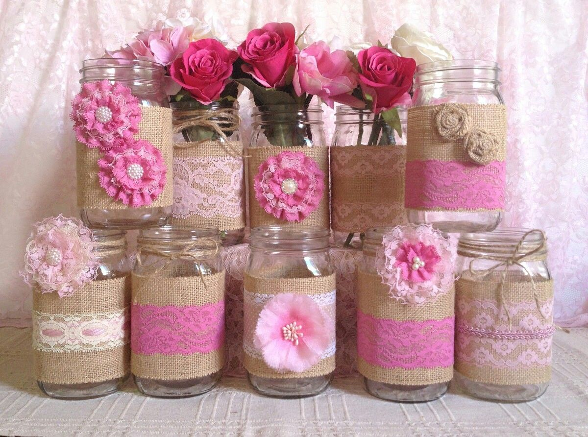craft ideas for bridal shower favors%0A rustic burlap and pink lace covered mason jar vases wedding decoration  bridal  shower  engagement  anniversary party decor by PinKyJubb on Etsy  Bottle