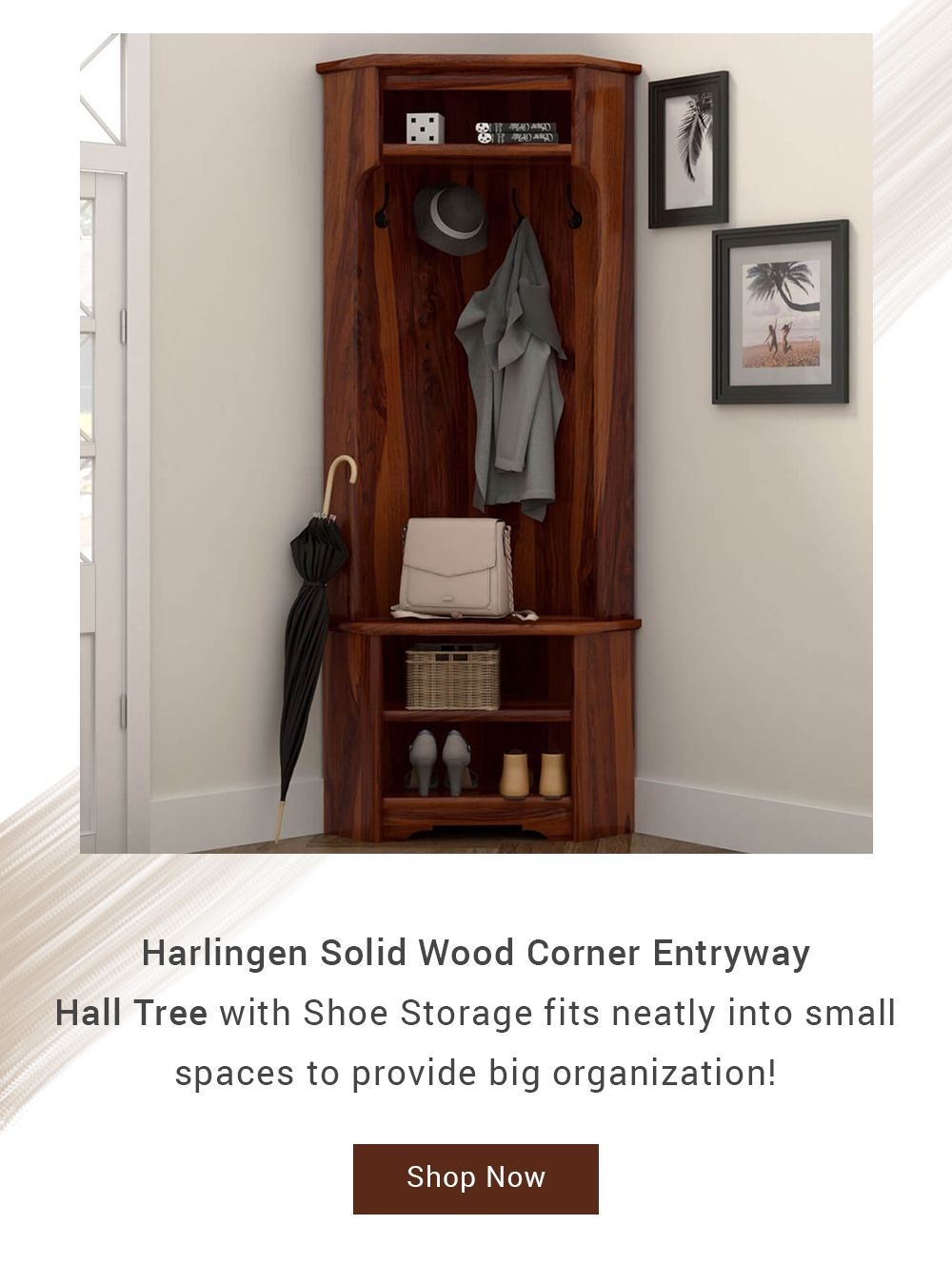Harlingen Rustic Solid Wood Corner Entryway Hall Tree And Shoe Storage Entryway Hall Tree Hall Tree Hall Tree With Shoe Storage