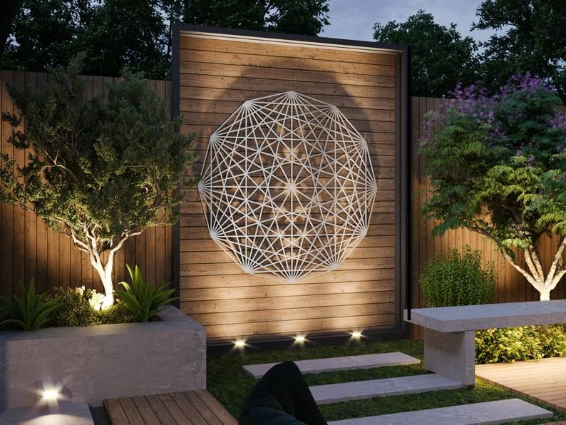 tesseract sacred geometry outdoor metal wall art sculpture on wall art id=61886