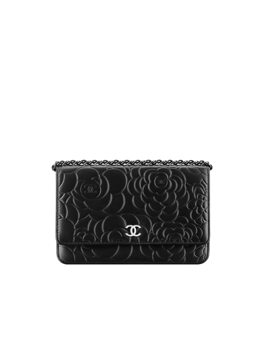 1355c65cc17 Flap wallet-on-chain in camellia-embossed... - CHANEL
