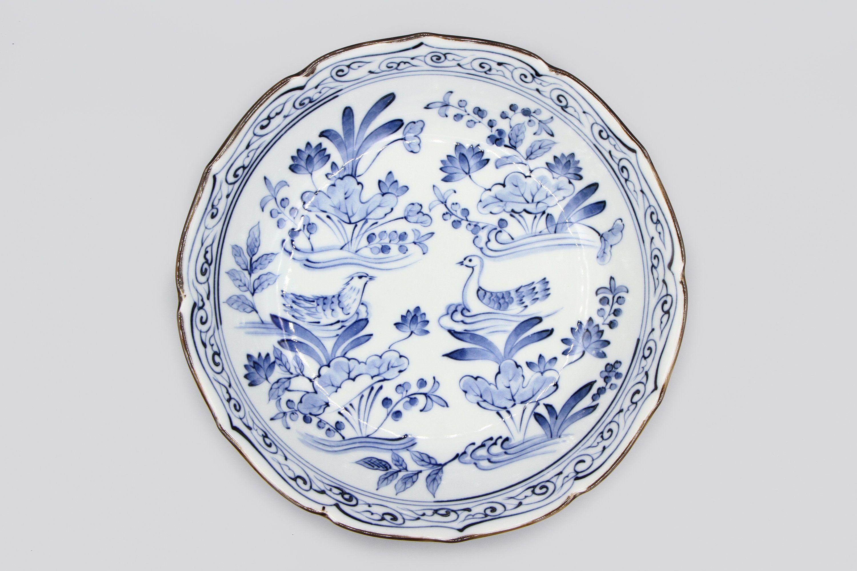 Chinese Export blue /& white vintage Victorian oriental antique landscape dish