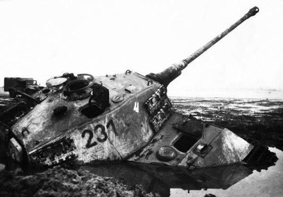 A King Tiger that sank deep into a muddy road or purpose built anti tank trap