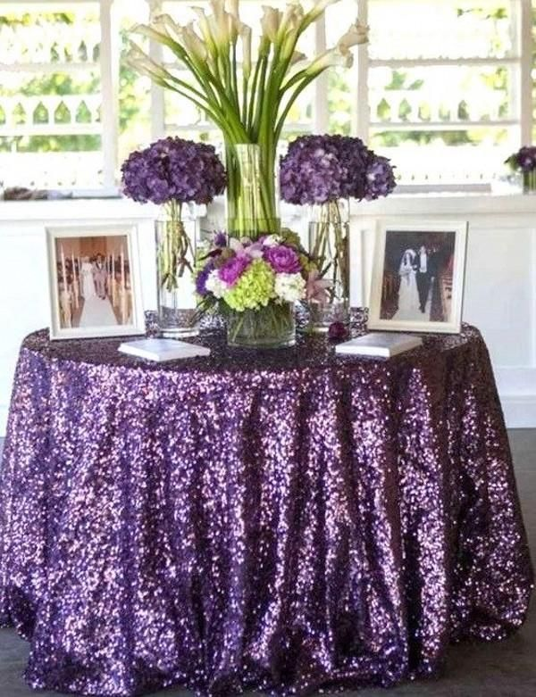 Bling Purple Sequins Wedding Party Round Table Cloth Christmas Wedding  Decorations 2016 Rose Gold Royal Blue