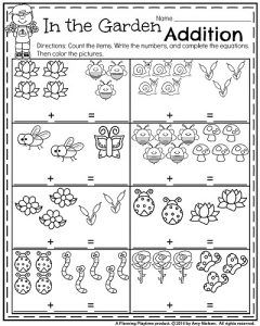 Kindergarten Worksheets For May Planning Playtime Kindergarten Math Worksheets Spring Kindergarten Addition Kindergarten
