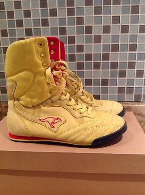 Vintage Mens Roos Kangaroo 80s RARE Yellow Sneakers Shoes