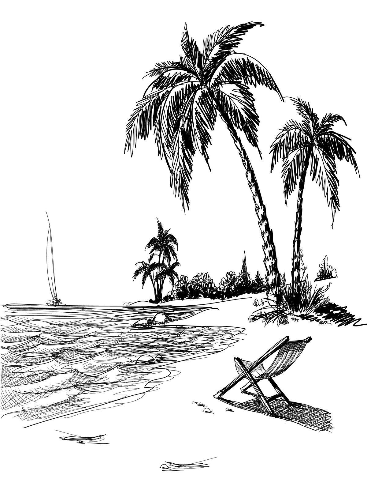 Beach Line Art Printed Photo Background