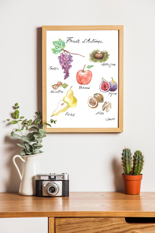 Affiche aquarelle botanique, Cuisine, illustration Fruits d