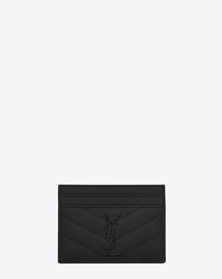 ead48d874 saintlaurent, MONOGRAM SAINT LAURENT CREDIT CARD CASE IN BLACK GRAIN DE  POUDRE TEXTURED MATELASSÉ LEATHER