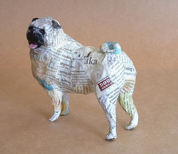 Pug Whimsical Paper Mache Dog Sculpture by PaperPort on Etsy