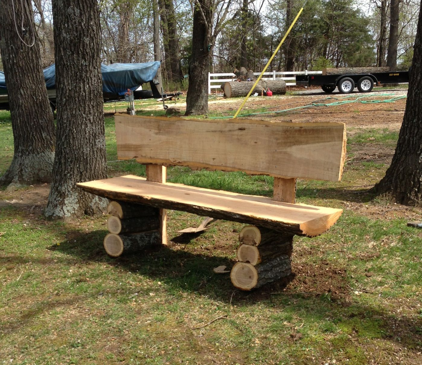 Country Log Slab Bench Log Wood Projects