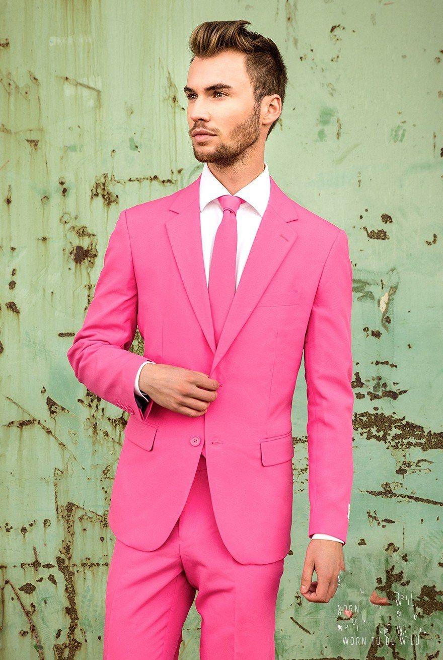 Latest Coat Pant Designs Hot Pink Men Suit Slim Fit 2 Piece Casual ...
