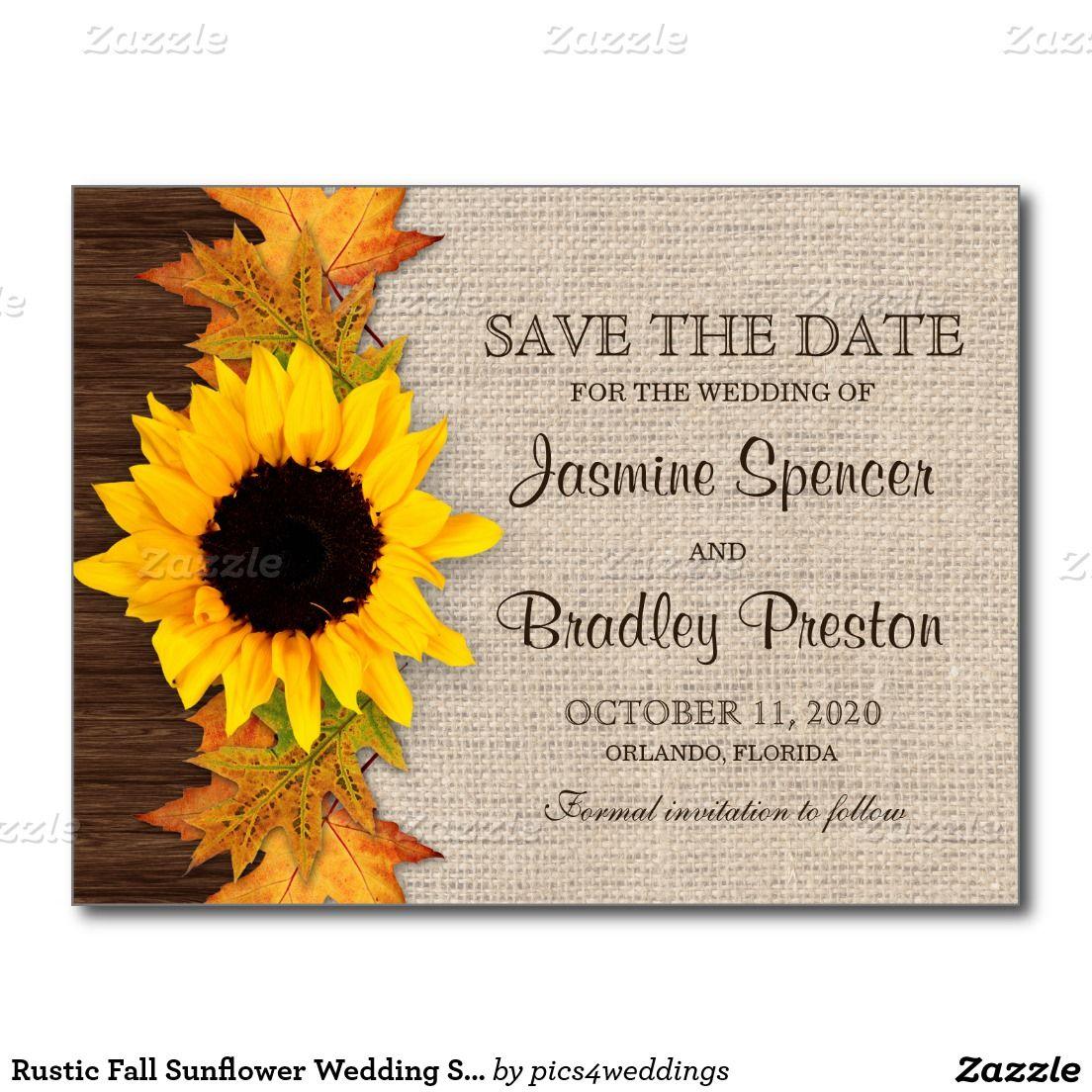 Rustic Fall Sunflower Wedding Save The Date Postcard | Sunflowers ...