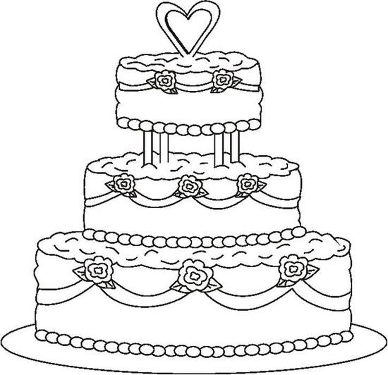 Coloring Pages Of Cakes Cupcakes Famous Cake Coloring