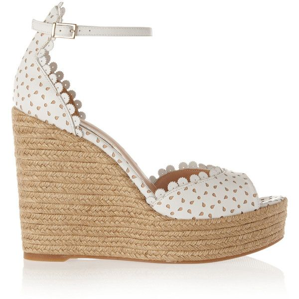 Tabitha Simmons - Harp Perforated Leather Espadrille Wedge Sandals (1.235 BRL) ❤ liked on Polyvore featuring shoes, sandals, white, white sandals, ankle strap sandals, white leather shoes, white wedge espadrilles and platform wedge sandals