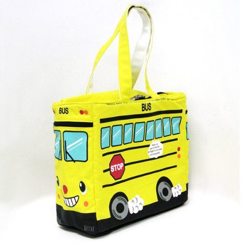 Canvas Yellow Bus Tote Bag