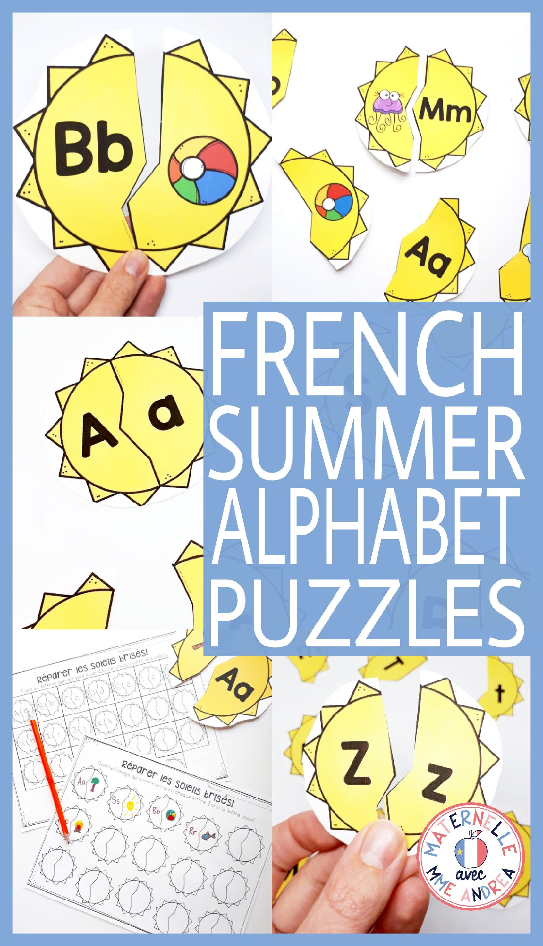 FRENCH Alphabet Summer Suns Literacy Centre Lettres et