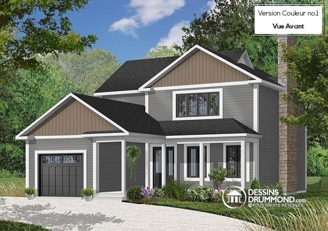 W2724 - Maison pour terrain étroit, garage avec accès par la