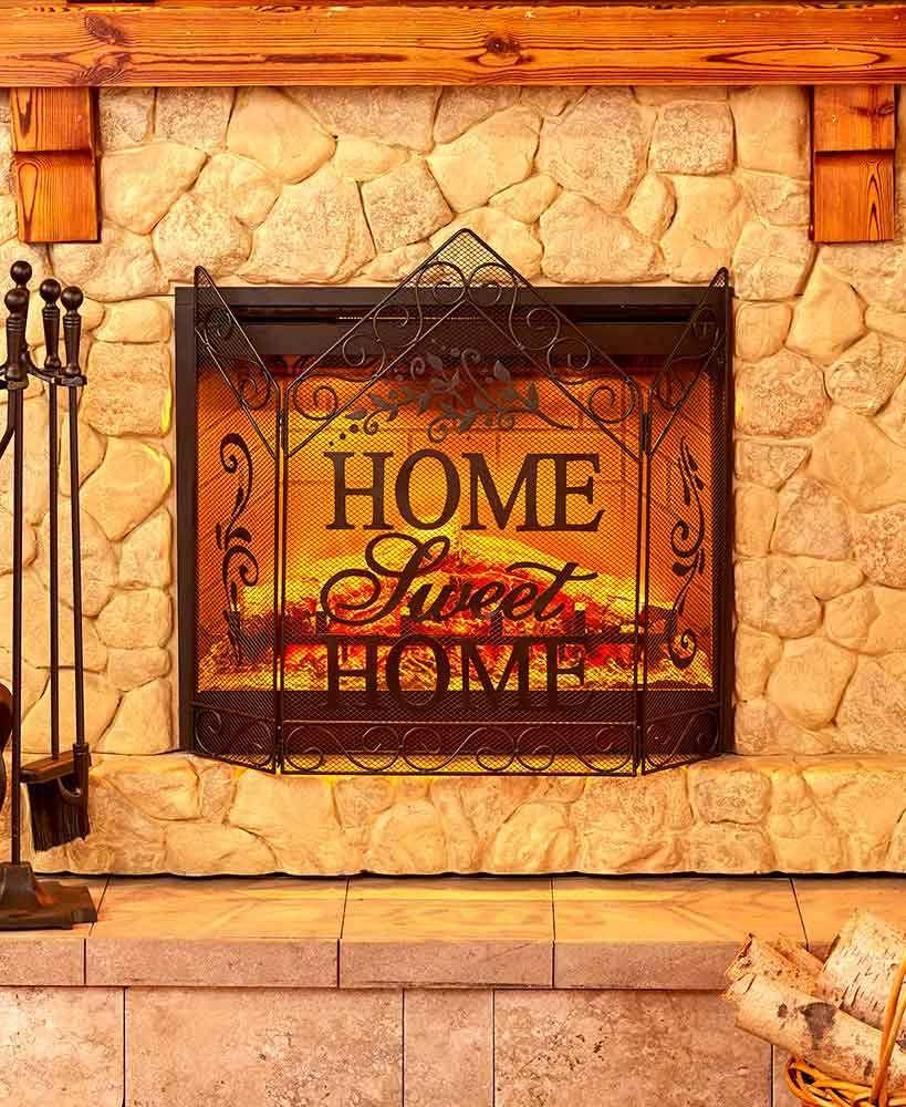 home sweet home metal fireplace screen freestanding winter hearth rh pinterest com