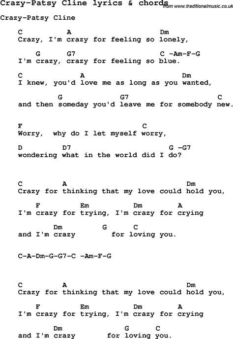 Love Song Lyrics For Crazy Patsy Cline With Chords For Ukulele
