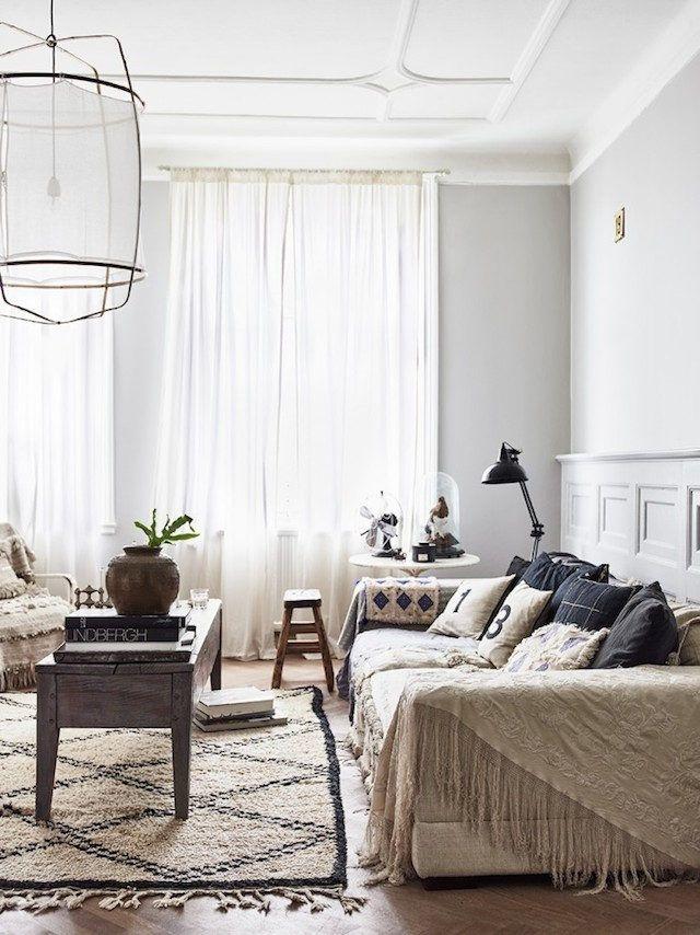 Swedish apartment with retro and boho chic