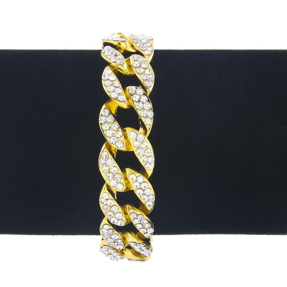 Mens k gold plated iced out hiphop aaa cz chain bracelet miami