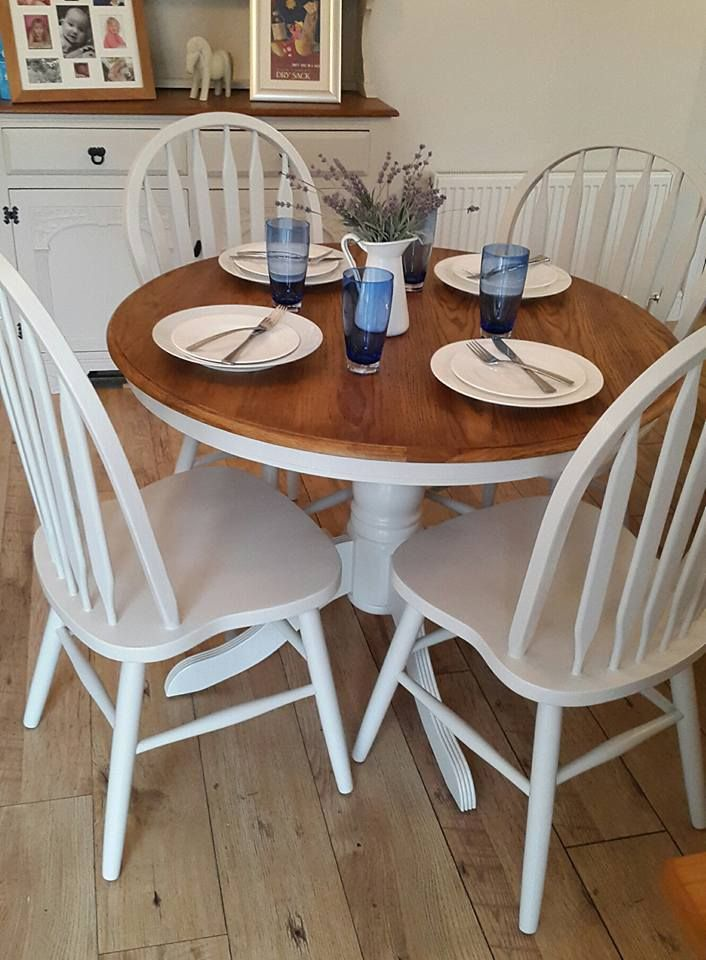 Gorgeous refurbished round pine pedestal table Grey
