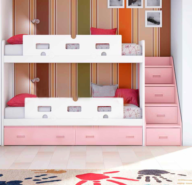 Lit Superposé Marche Escalier lit superposé fille avec 2 coffres de rangement
