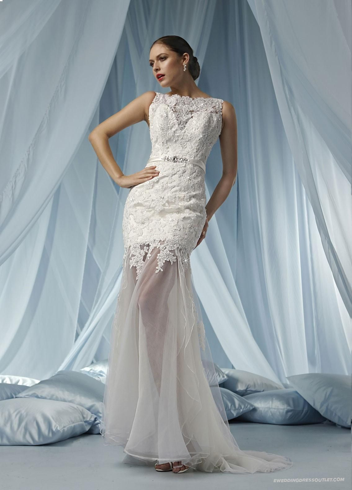 Shop For Tulle Sweetheart Overlay Bodice Modified Wedding Dress ...