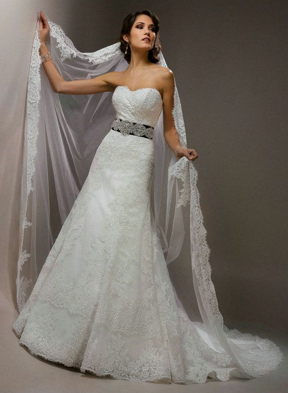 2013 lace Wedding Dresses with black belt