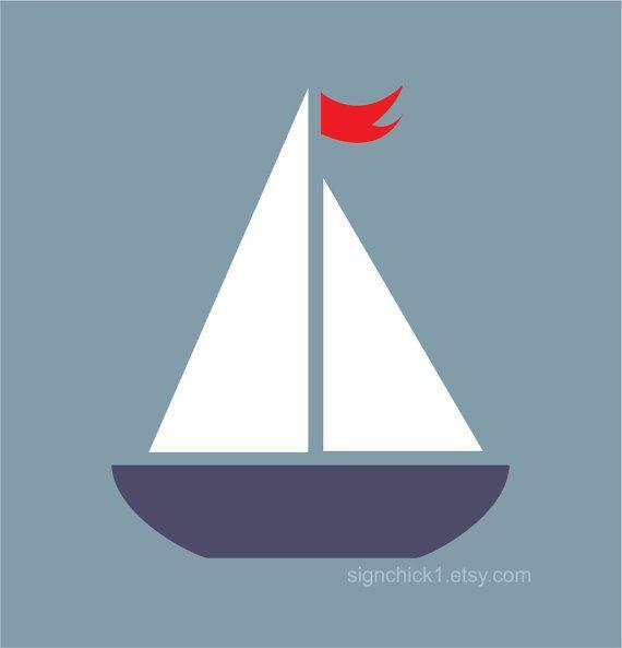 Sailboat wall decal, Nautical Boat sticker, sailboat ...