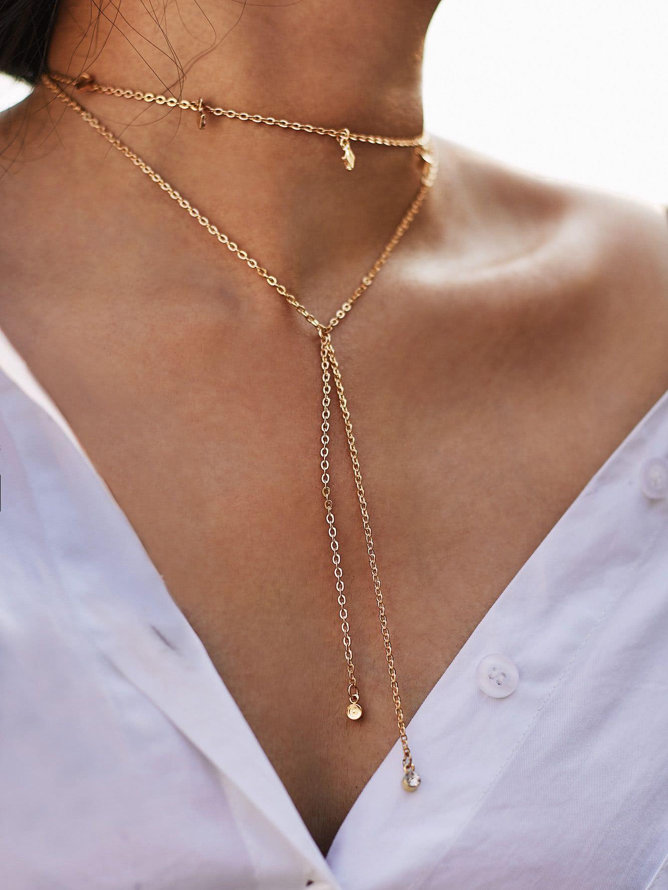 31b5ddbaf3 Shop Rhinestone Layered Necklace With Geometric Charm online. SheIn offers  Rhinestone Layered Necklace With Geometric Charm & more to fit your  fashionable ...
